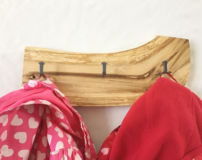 Oak coat display rack. Solid old oak wood display wall rack. Oak wood branch coat pegs.  Modern rustic wall mounted woodland-inspired hanger