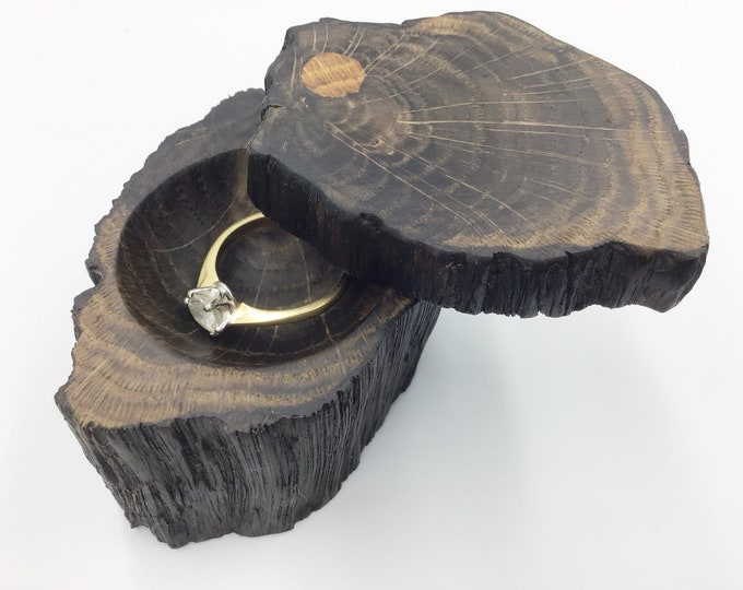 Ring Box - Engagement Ring Holder - Proposal - Ancient Oak Heart Wood - Handmade Rustic Woodland - handcarved unique piece from West Wales