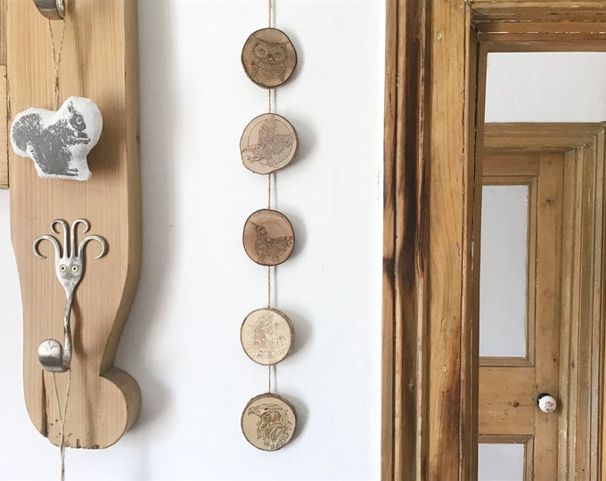 Bird wall hanging - Handmade Pyrography / Wood Burning on Live edge Hazel wood with bark - 5 birds Hummingbird Eagle Parrot - Wall decor art