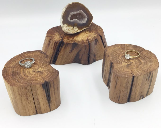 3 Oak wood jewellery risers. Set of 3 display base for small crystals, ornaments, succulents. Organic shape display stand. Ancient Oak wood