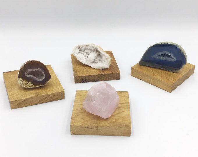 Set of 4 Oak wood crystal plinths. Jewellery riser. Wooden plinth. Coasters. Oak wood base for crystals, ornaments, candles, succulents etc