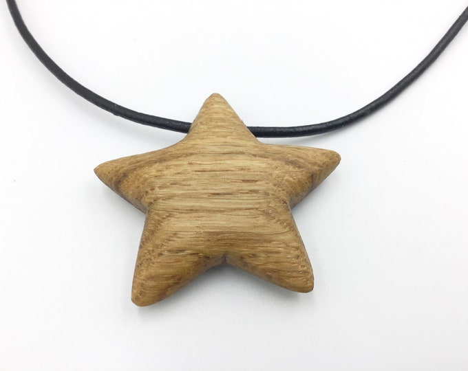 Oak 'Star' necklace - Little wooden rounded 5-sided star shaped pendant necklace - hand crafted / carved -  boxed - Valentine gift for her