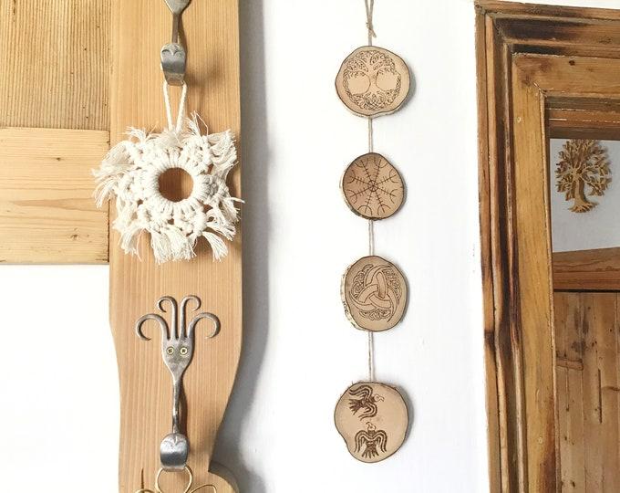 Viking Symbols wall hanging - Handmade Pyrography Wood Burning - 4 Norse mythology symbols - Yggdrasil Helm of Awe Triple Horm Odin's Ravens