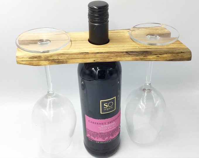 Wine glass holder - Spalted hardwood - Wine accessory - Great for serving wine - Holds 2 wine glasses - Woodland eco Christmas gift idea