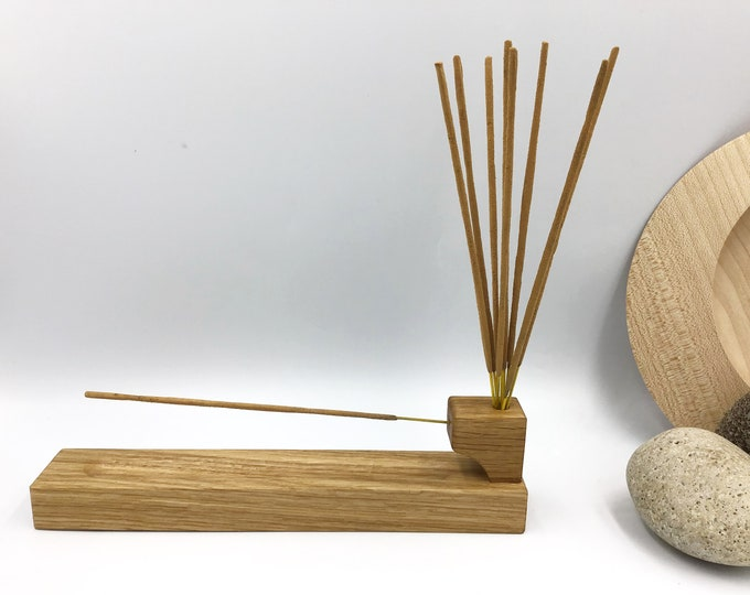 Incense stick holder. Solid Oak with incense stick storage pot / hole. Hand-carved natural Oak wood incense burner. Wooden Christmas gift.