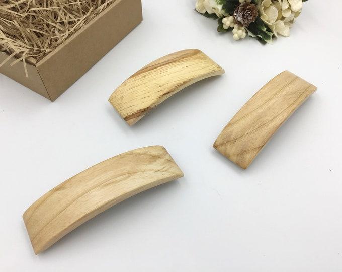3 Wooden Hair Barrette Gift Set. 2 unusual Hazel wood. Native Welsh wood.  Hair slide / clasp. High quality strong metal clip. Hair gift set
