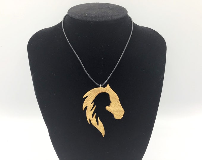 Woman & horse necklace - Wooden pendant necklace - Handmade Oak - Lady / Woman / Female / Girl silhouette in Horse - Horse / pony lover gift