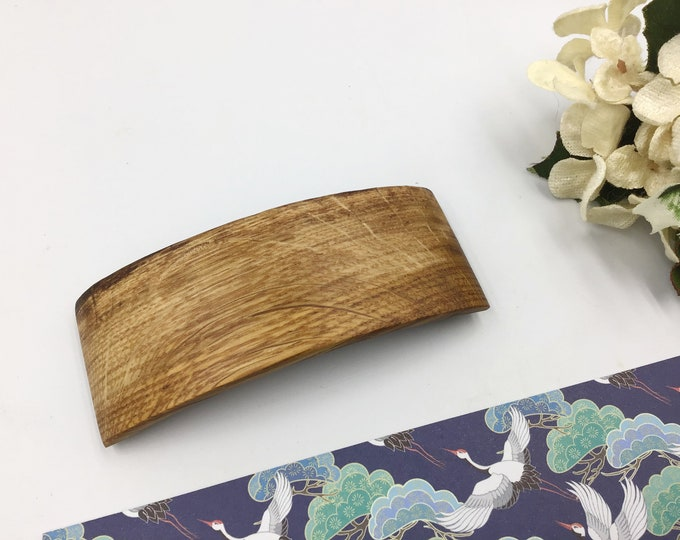 Oak wood Hair barrette. Unusual Oak wood grain patterning. Decorative, rustic French barrette slide / clasp. Genuine 'Made in France' clip