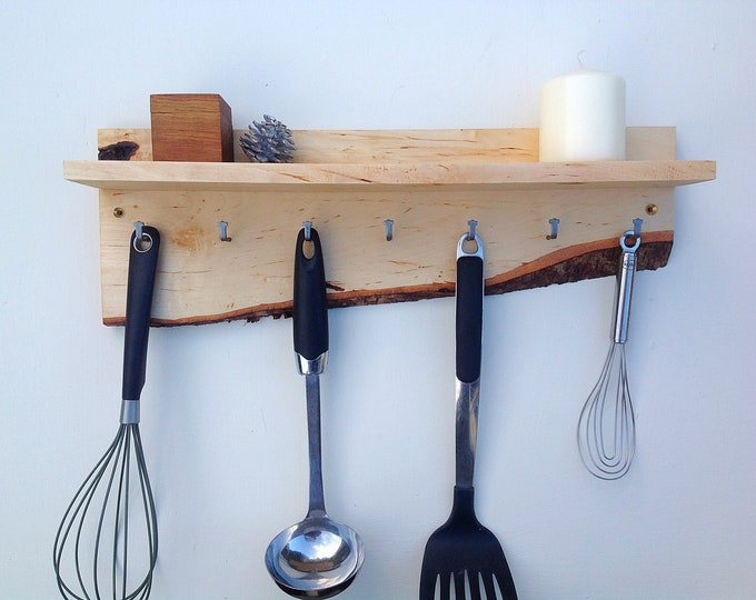 Kitchen Organiser. Wall mounted kitchen shelf. Utensil Hanging hooks. Handmade wall shelf for spice pots. Live edge Birch wood. Rustic wood