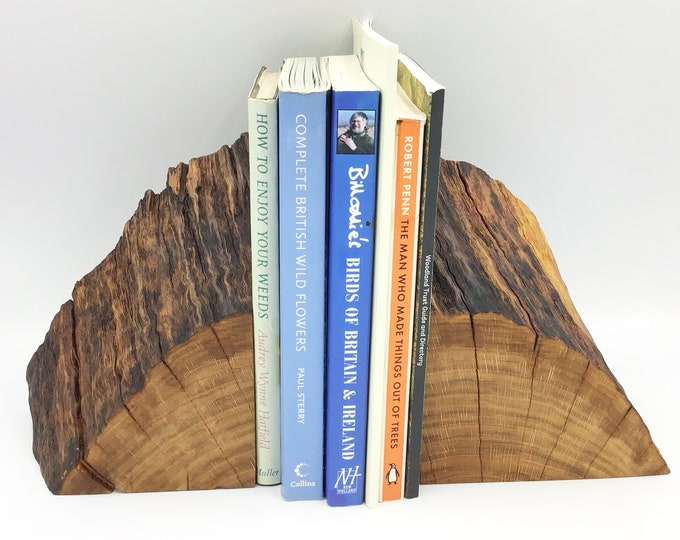 Bookends. Bookend pair. Stylish Unique book lover / book worm gift. Decorative Oak branch. Completely Unique Modern Rustic home decor style