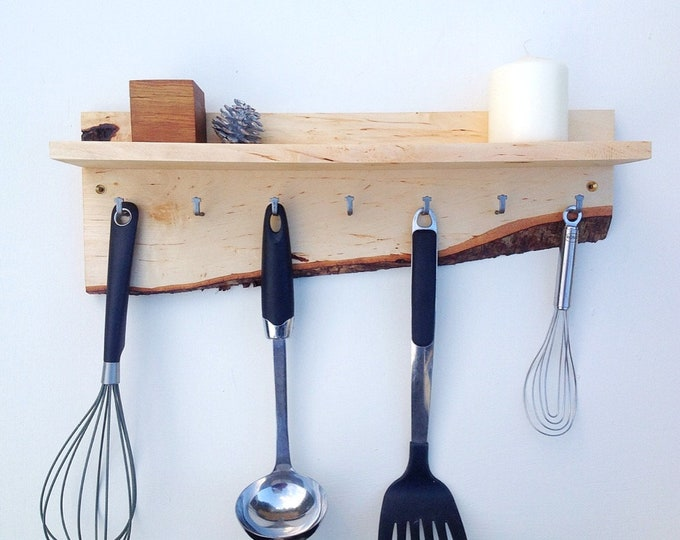 Kitchen Organiser. Wall mounted kitchen shelf spice rack & utensil Hanging hooks.  Wall mounted shelf for spice pots. Live edge Birch wood