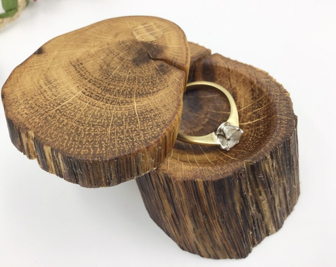 Engagement Ring Box - Natural Wood Proposal Box - Ring Holder - Hand carved ring dish – Completely Unique - Ancient primitive Oak