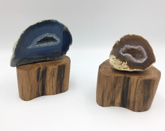 Pair of Oak wood jewellery risers. 2 display bases for small crystals, ornaments, succulents. Organic shape display stand. Ancient Oak wood