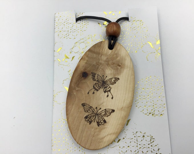 Oval Butterfly pendant - Large Wooden necklace - Handmade Pyrography / Wood Burnt - Hazel wood - Christmas gift idea for butterfly lover