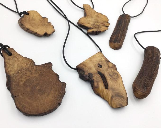 Large Oak statement pendant - Wooden necklace - Ancient primitive BONE OAK wood – Handmade & unique - Tactile warm necklace for man / woman