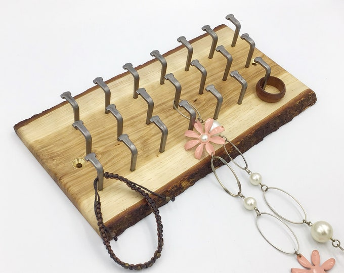 Jewellery display rack. Oak wood. Wall art display for jewellery necklaces etc. Wall mounted live edge rack - 21 hooks. Rustic Woodland rack