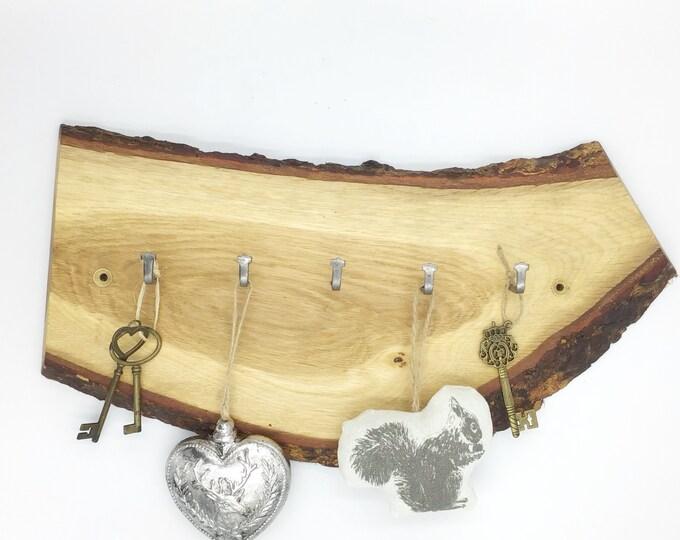 Large Key Rack - Live edge oak - Wall mounted key rack - 5 hooks - Solid Oak Live edge branch wood with bark - Woodland home decor for keys