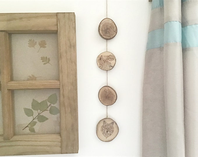 Wolf wall hanging - Handmade Pyrography / Wood Burning - Live edge Hazel wood with bark - 4 Wolves Wall decor art - Howling wolf moon  motif