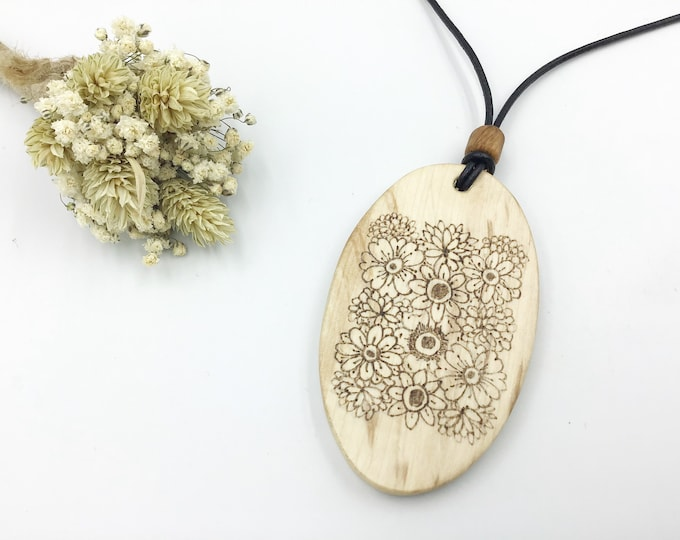 Oval flower pendant - Large Wooden pendant necklace - Handmade Pyrography / Wood Burning - Hazel wood Oval - Flowers floral nature spring