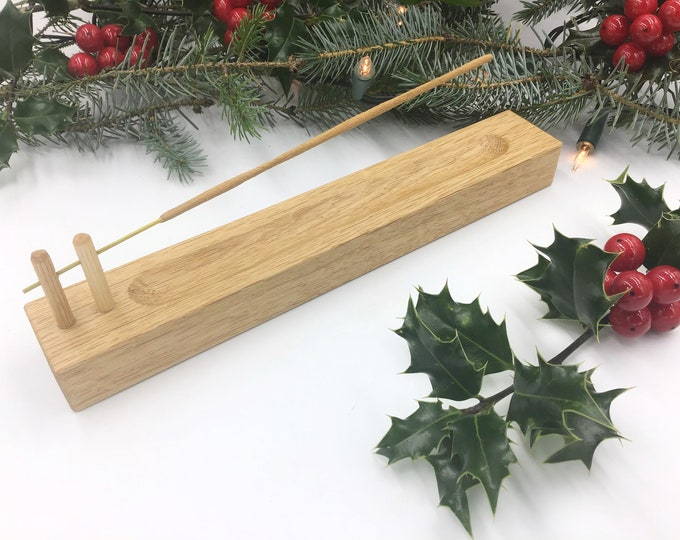 Incense stick holder. Solid Oak wood. Handmade wooden joss stick incense holder. Hand-carved Ash collection channel. Christmas incense gift