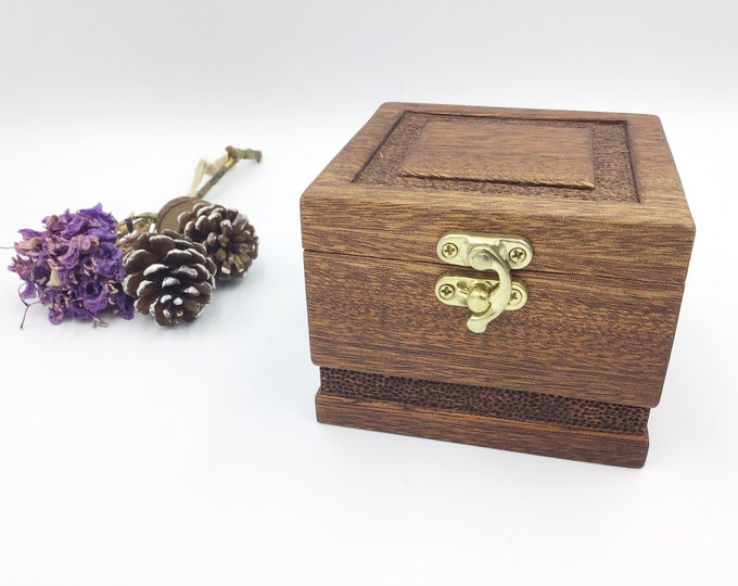 Cuff link / Jewellery box. Dark Mahogany Wood With deep hand carved dish. Luxury ring / jewellery box with hand carved detailing on the lid