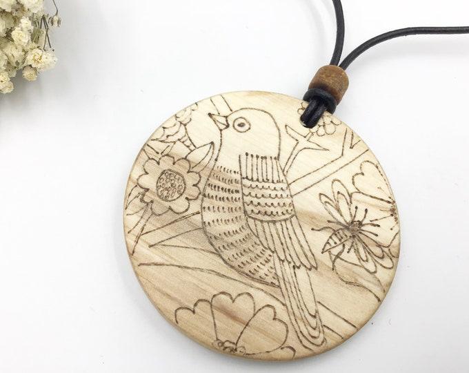 Bird pendant - Wooden 6cm pendant necklace - Handmade Pyrography / Wood Burning on Sustainable wood - Birds and bugs whimsical nature scene.