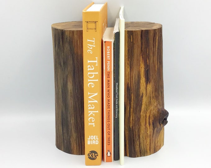 Wooden Bookends. Bookend pair. Stylish book lover / book worm gift. Solid oak tree branch bookends. Solid heirloom natural wood. Oak wood