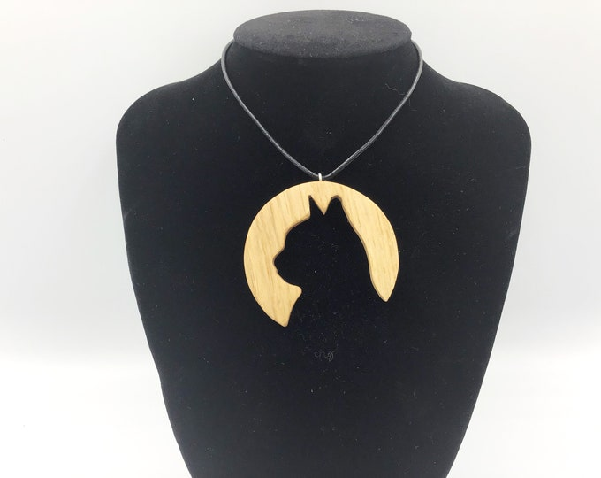 Cat Silhouette necklace - Handmade Oak pendant - Cat lover wooden pendant  - Large silhouette of a cat face - Kitty Cats - Natural Oak wood