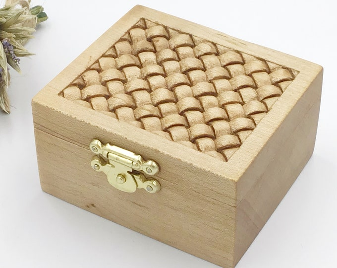 Ring Box - Hand carved weave pattern on lid - Engagement Ring Holder - Lime Wood Box with jute cord rope inlay - hand carved wooden gift box