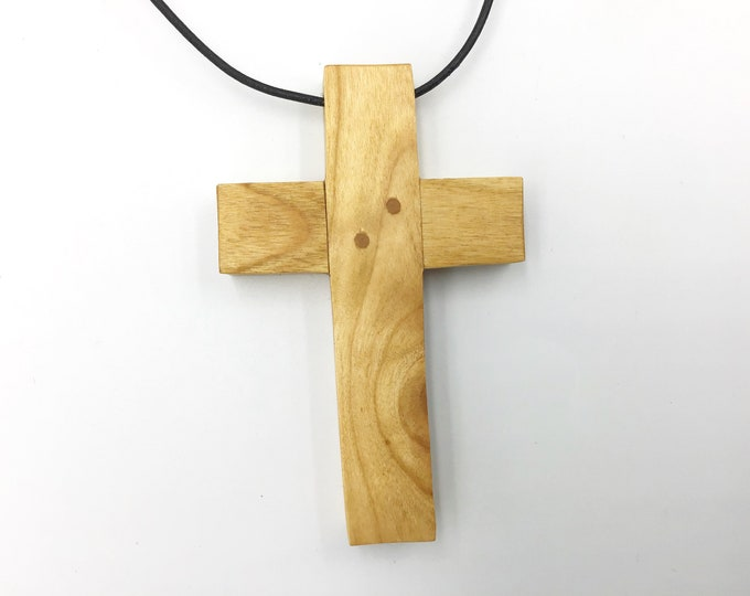 Large crucifix pendant - 10cm tall x 6.5cm wide - Welsh Cherry wood cross necklace - Wooden Christian Religious cross - Large Unisex pendant