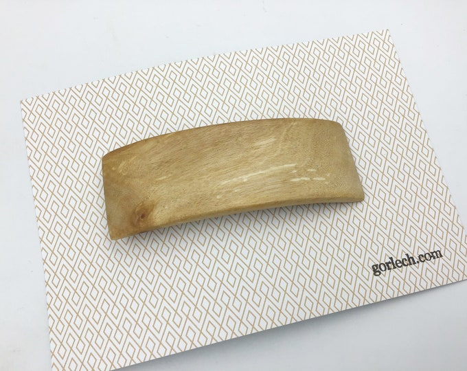 Wooden hair barrette. French barrette slide / clasp from natural Birch Burr wood. Woodland Hair clasp accessory. Rustic wood & strong metal