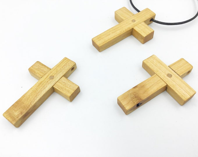Cherry wood pendant necklace - Wood cross - Crucifix pendant necklace - Handmade wooden Christian / Religious Wood cross - Unisex pendant