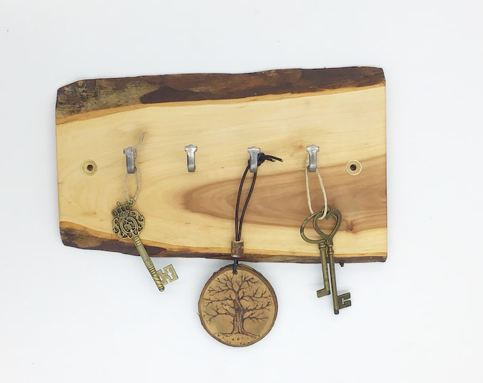 Key rack. Live edge crab apple wall key rack. 4 hooks. Solid wooden. Stylish wood with hanging hooks / pegs for your keys. Forest decor.