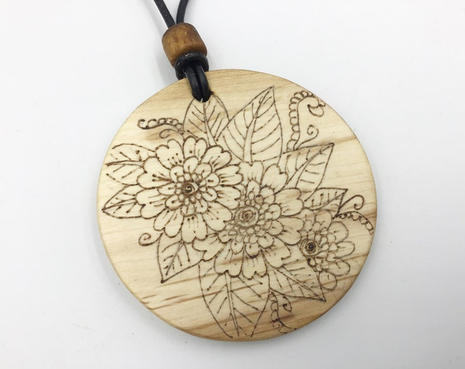 Flower pendant - Wooden 6cm pendant necklace - Handmade Pyrography / Wood Burning on Sustainable Welsh Hazel wood - Floral Flowers Wood gift