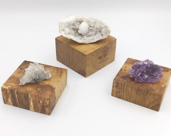 Set of 3 Oak wood crystal plinths. Jewellery riser. Wooden plinth. Oak wood display base for crystals, ornaments, candles, succulents etc