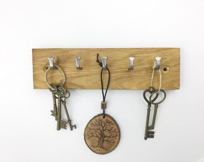 Key rack - Reclaimed Oak Parquet Flooring - 5 hooks - Solid Oak - repurposed, reclaimed, recycled, pre-loved - Modern rustic eco home decor