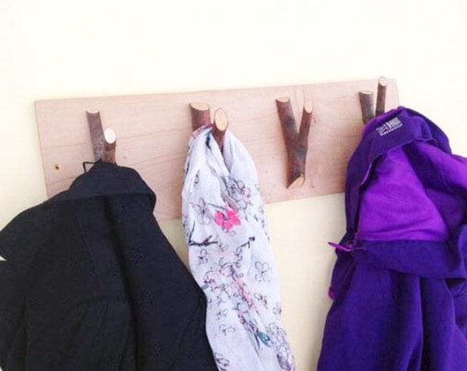Wall mounted coat rack - Set of 4 branch coat wall hooks on lime wood plank - Coat or school bag pegs with bark - Woodland nursery decor