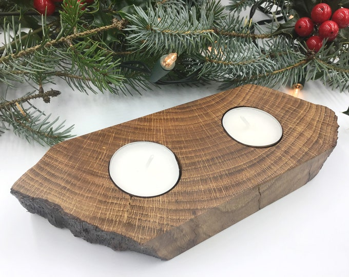SALE - Oak wood Candle Holder - Ancient Dark Oak wood - Handmade in West Wales UK - Tealight holder - Wooden Home Decor - 25% Sale