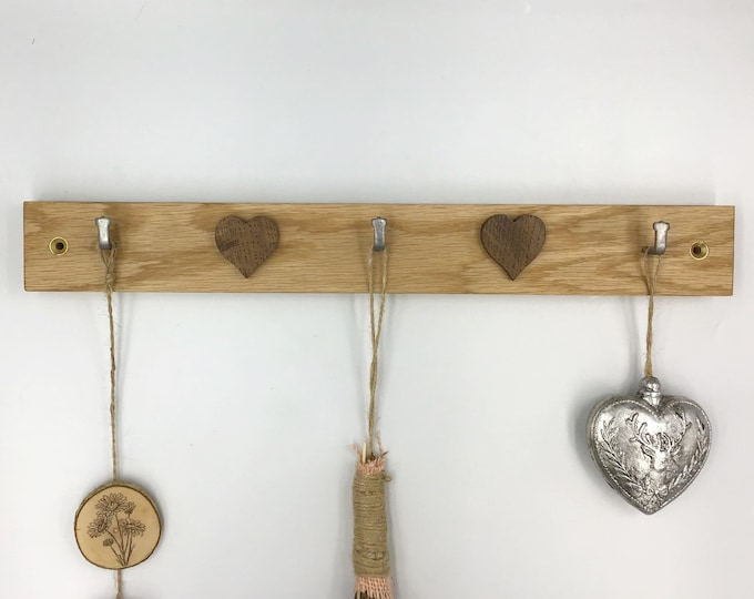3 hook 2 Heart Key Rack - Long wooden wall mounted rack with Dark Oak valentine love hearts - Decorative Wall rack for hanging crafts or art