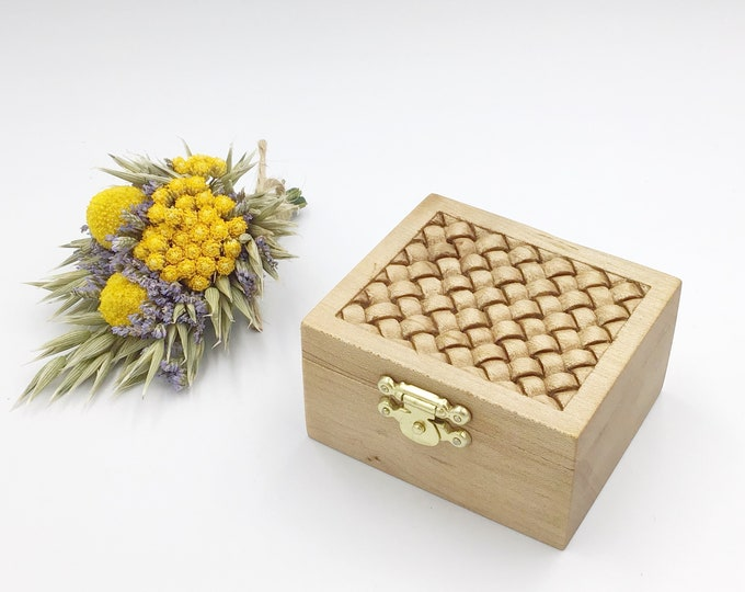 Ring Box - Hand carved weave pattern on lid - Engagement Ring Holder - Wooden Box & jute cord rope inlay - hand carved presentation gift box