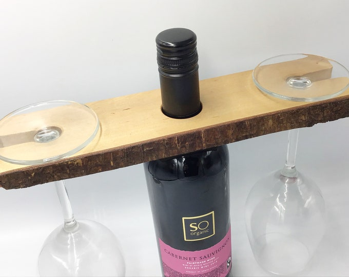 Wine glass holder - Birch wine butler - Solid wooden wine caddy for 2 glasses - Great wine lover accessory or couple housewarming gift