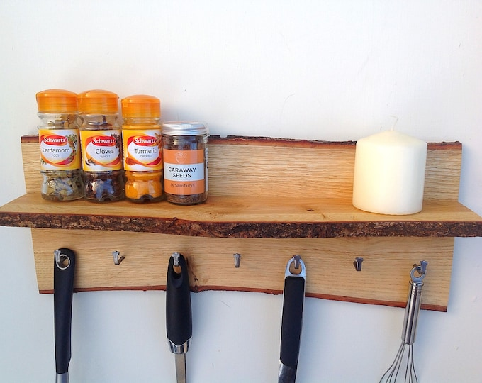 Spice rack with hanging hooks. Oak Kitchen Organiser. Wall mounted kitchen shelf. Utensil Hanging hooks. Spice pot display. Live edge wood