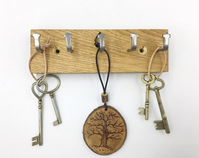 Micro Key rack only 16cm wide - Small Space 5 hook Light Oak wall rack - Wall mounted key hooks - Sustainable Oak & strong metal hooks