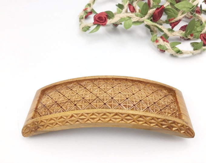 Hair Barrette - Carved by Paul in UK from sustainably sourced Cherry wood - Intricate chip carving - Gift for her - 5th anniversary Wood