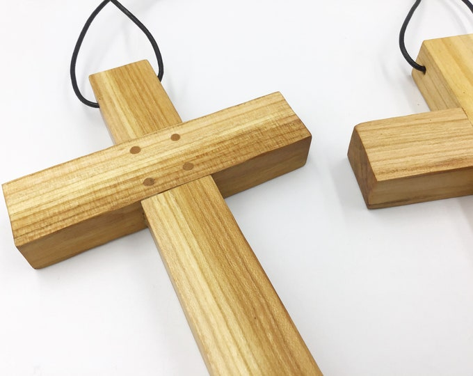 Cherry wood cross - large 15cm wall hanging Cherry cross - Simple, stylish Wall mounted cross - Solid natural wooden crucifix - Sustainable