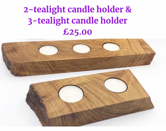 Tealight candle holder - Ancient Oak wood - Oak Candle holders for 2 or 3 tea-lights - Modern rustic home decor - great Christmas gift idea