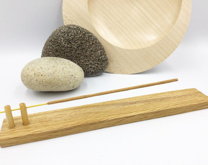 Joss stick incense holder. Solid Oak wood. Handmade woodland-inspired incense holder. Hand-carved natural Oak wood. Modern Rustic decor gift