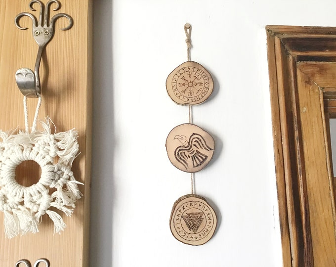 Viking Symbols wall hanging - Handmade Pyrography Wood Burning - 3 Norse mythology symbols - Vegvisir Viking compass, odin's Raven & Valknut