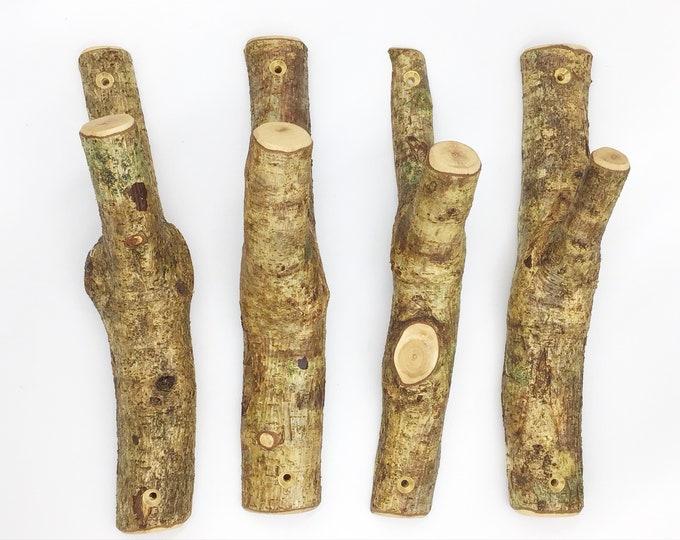 Branch coat wall hooks. Set of 4. Rustic natural tree wood coat pegs with bark. Hanging hooks for bedroom bathroom nursery. Woodland-theme