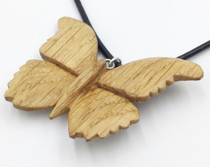 Carved Oak butterfly necklace - Wooden pendant necklace - Handmade Oak pendant - Elegant stylish wooden necklace - Ancient primitive Oak